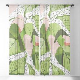 Blushing Leaves #illustration #painting Sheer Curtain