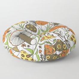 Hand-drawn Mushrooms Floor Pillow
