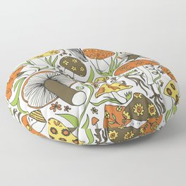 Hand-drawn Mushrooms Floor Pillow