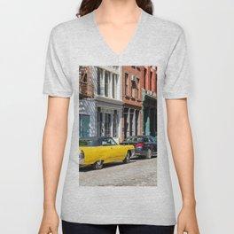 Yellow car in Tribeca, New York Unisex V-Neck
