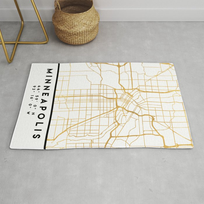 MINNEAPOLIS MINNESOTA CITY STREET MAP ART Rug