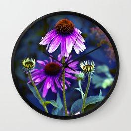 Purple Coneflowers  Wall Clock