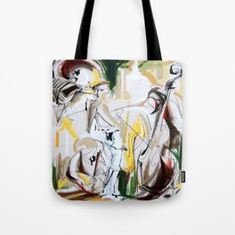 Expressive Musicians Playing Cello Flute Accordion Saxophone drawing Tote Bag