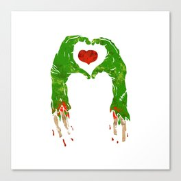 zombie hand making heart Canvas Print