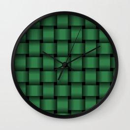 Large Dark Green Weave Wall Clock
