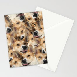 Puzzle psychedelic dog corgi spitz shiba inu collage funny joyful original tongue licks Stationery Cards