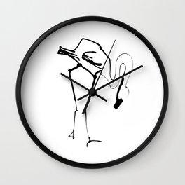 Simple Black Ink Flamingo Illustration, Minimalist Art. Wall Clock