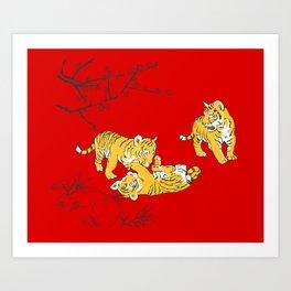 Oriental mini tigers Art Print