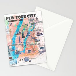 New York City Illustrated Map with Main Roads, Landmarks and Highlights Stationery Cards