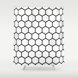 White and black honeycomb pattern Shower Curtain