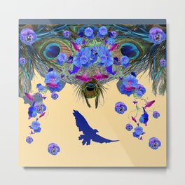BLUE MORNING GLORIES & FLYING BLUE BIRD ART Metal Print