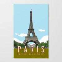 travel poster Canvas Prints featuring Paris 2 Travel Poster by Michael Jon Watt