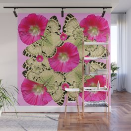 PINK ON PINK HOLLYHOCK FLORAL & YELLOW-BLACK BUTTERFLY Wall Mural
