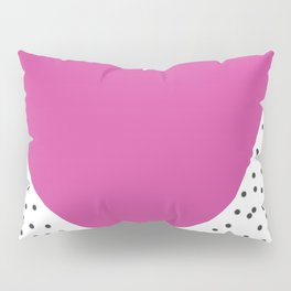 Pink heart with grey dots around Pillow Sham