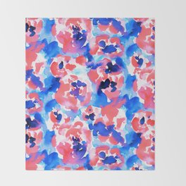 Abstract Flora Blue Throw Blanket