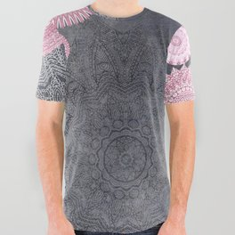 FESTIVAL FLOW - PINK GREY All Over Graphic Tee