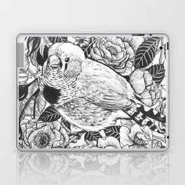 Zebra finch and rose bush ink drawing Laptop & iPad Skin