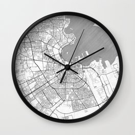 Doha Map Line Wall Clock