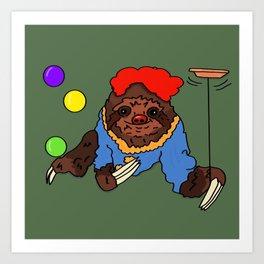 Clown Sloth Art Print