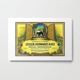 Vintage Zeller Cats Schwarze Riesling - Mosel Saar Ruwer Wine Bottle Label Print Metal Print