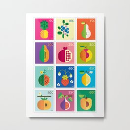 Fruit Stamps 12 Metal Print