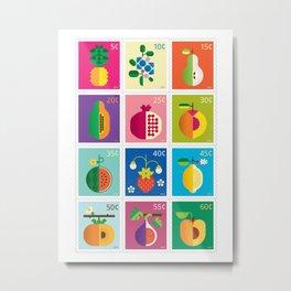 Fruit Stamps 12 Metal Print
