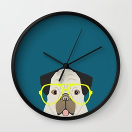 Emerson - Pug with neon Hipster Glasses, Cute Retro Dog, Dog, Husky with Glasses, Funny Dog Wall Clock