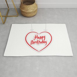 Happy birthday. red paper heart on White background. Rug