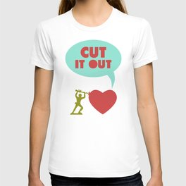 Cut it out - funny vector illustration with toy soldier, typography, and heart in green red and blue T-shirt