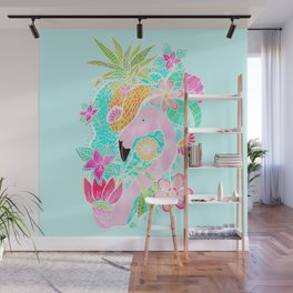 Tropical summer watercolor flamingo floral pineapple Wall Mural