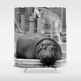 Hippo's and Giraffe Shower Curtain