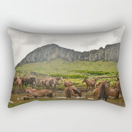 Wild horses on Easter Island Rectangular Pillow