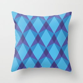 Complex interlocking hexagon and diamond pattern (blue) Throw Pillow