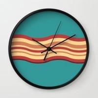 bacon Wall Clocks featuring Bacon by Jiro Tamase