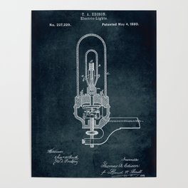 1880 Electric Light Thomas A Edison patent art Poster