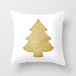 Gold Glitter Christmas Tree Throw Pillow