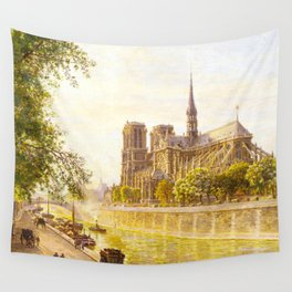 L'lle de la Cite and the Cathedral of Notre Dame, Paris from Quai Montebello by Firmin Girard Wall Tapestry