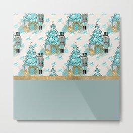 Teal Christmas Trees Metal Print