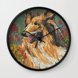 Rough Collie & Red Geraniums Wall Clock