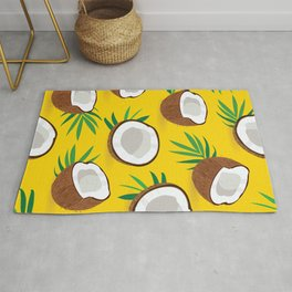 Coconut Pattern on Yellow Background Rug
