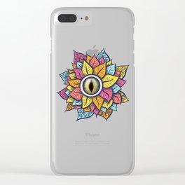 Colorful Reptile Eye Flower Fun Weird Digital Art Clear iPhone Case