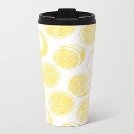 Hand drawn lemon pattern Metal Travel Mug