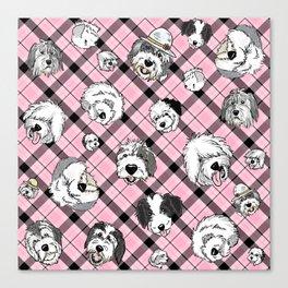 Plaid Sheepies Pink Canvas Print