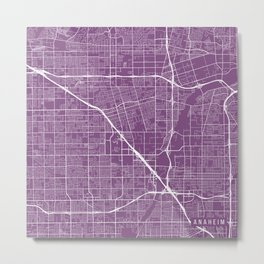 Anaheim Map, USA - Purple Metal Print