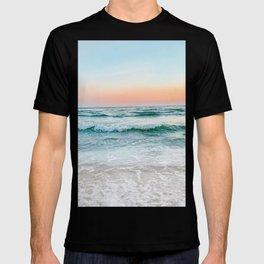 Aqua, Turquoise, Pink, Sunset Ocean T-shirt