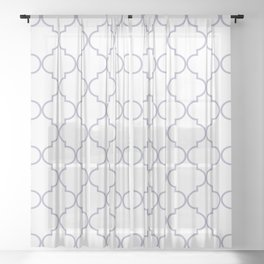 Quatrefoil - white and silver Sheer Curtain