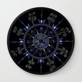 Blue and Black Mandala Wall Clock