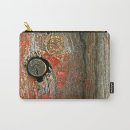 Weathered Wood Texture with Keyhole Carry-All Pouch