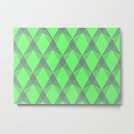 Complex interlocking hexagon and diamond pattern (green) Metal Print