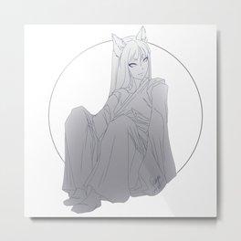 Moon Fox Metal Print